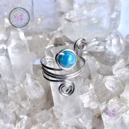 Larimar Sterling Silver Wire Wrapped Ring